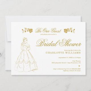 Gold Beauty and the Beast Bridal Shower Invitations