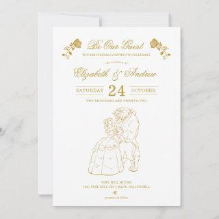 Gold Beauty and the Beast Wedding Invitations