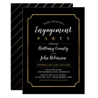 Gold & Black | Classic Wedding Engagement Party Invitation