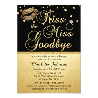 Gold Black Kiss the Miss Goodbye Bridal Shower Invitation