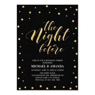 Gold & Black | Modern Typography Rehearsal Dinner Invitation