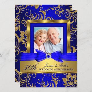 Gold Blue Floral Photo 50th Wedding Anniversary