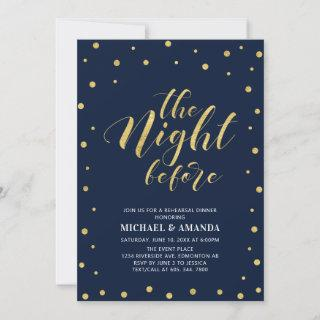 Gold & Blue | Modern Typography Rehearsal Dinner Invitations