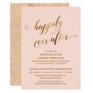 Gold & Blush Happily Ever After Post Wedding Invitations