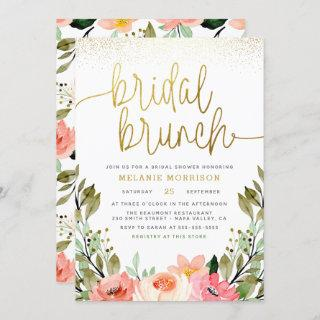 Gold Blush Pink Floral Bridal Brunch Bridal Shower Invitations