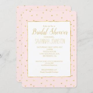 Gold Blush Pink Little Hearts Bridal Shower Invitations