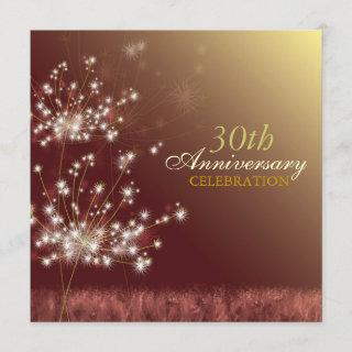 Gold + Brown 30th Fall Wedding Anniversary Party Invitation