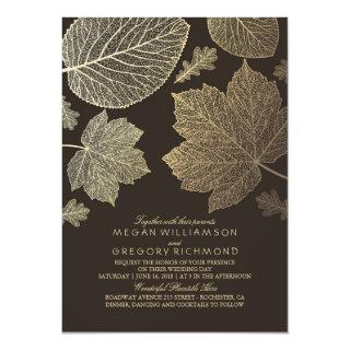Gold Brown Leaves Vintage Fall Wedding Invitations