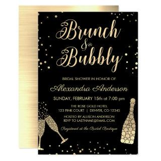 Gold Brunch & Bubbly Bridal Shower Invitations