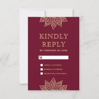 Gold Burgundy Mehendi Henna Indian Wedding RSVP Card