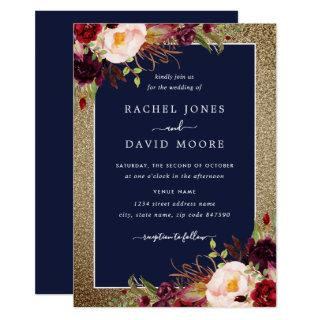 Gold Burgundy Navy Floral Watercolor Wedding Invitation