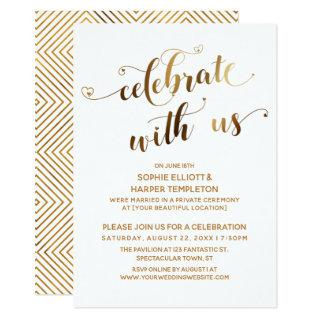 Gold Celebrate with Us Post-Wedding Celebration Invitations
