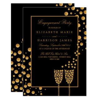 Gold Champagne Bubbles Engagement Party Invitation