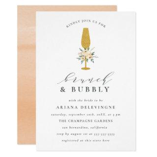 Gold Champagne & Floral Bouquet Brunch & Bubbly Invitations