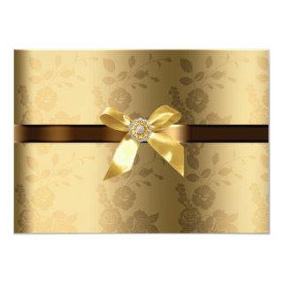 Gold & Chocolate Brown Gold Bow and Sparkle Invitation