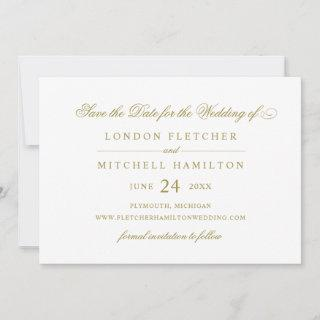 Gold Classic Elegance | Wedding Save The Date