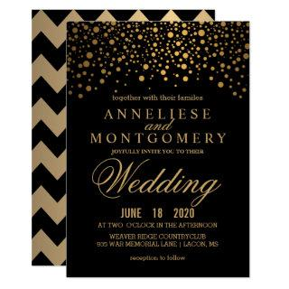 Gold Confetti and Black Wedding Invitations