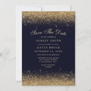 Gold Confetti Navy Blue Modern Save The Date