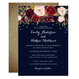 Gold Confetti Navy Burgundy Floral Wedding Invitation