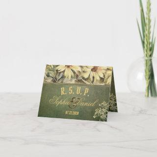 Gold Daisies With Sage Wedding RSVP Card
