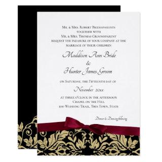 Gold Damask and Burgundy Bow Wedding Invitations