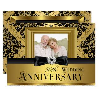 Gold Damask Bow Photo 50th Wedding Anniversary 3 Invitation