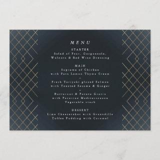 Gold Dark Navy Elegance Diamond Geo Deco Wedding Menu