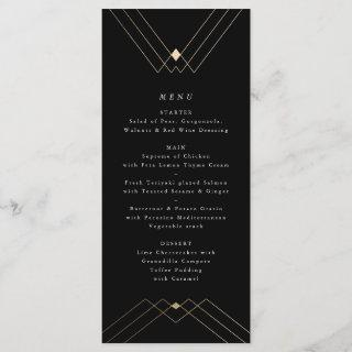 Gold Diamond Black Geometric Deco Gatsby Menu