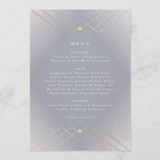 Gold Diamond Grey Geometric Deco Gatsby Wedding Menu