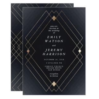 Gold Diamond Navy Geometric Deco Gatsby Wedding Invitations