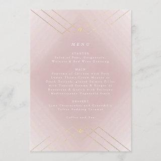 Gold Diamond Pink Geometric Deco Gatsby Wedding Menu
