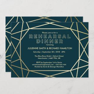 Gold Diamond Sophisticated Rehearsal Dinner Invitation
