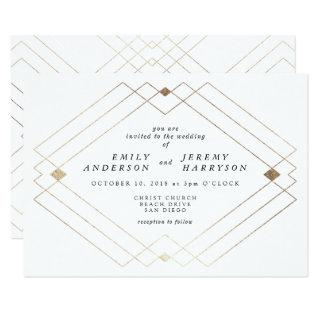 Gold Diamond White Geometric Deco Gatsby Wedding Invitation