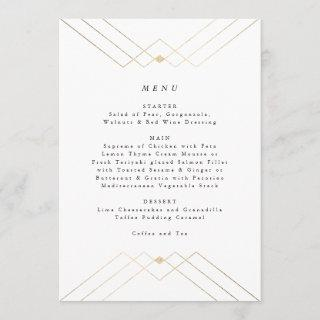 Gold Diamond White Geometric Deco Gatsby Wedding Menu