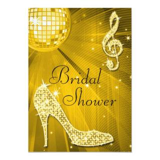 Gold Disco Ball and Sparkle Heels Bridal Shower Invitation