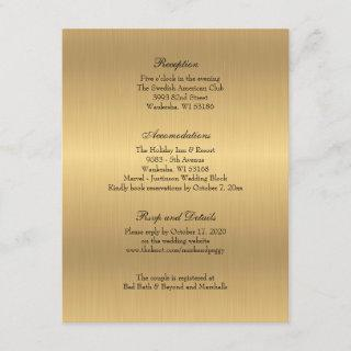 Gold Elegant Traditional Wedding Reception Enclosure Card