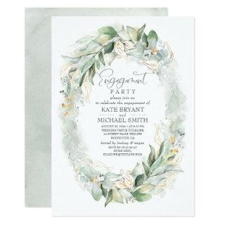 Gold Eucalyptus Greenery Wreath Engagement Party Invitations