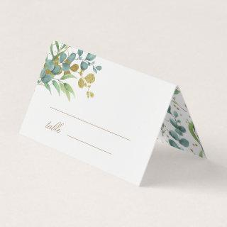 gold eucalyptus leaves greenery wedding table card