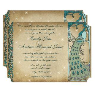 Gold Fairy Tale Peacock Wedding Invitation