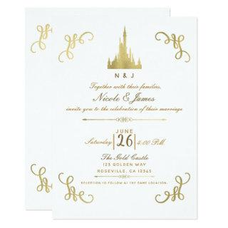 Gold Faux Foil Princess Castle Storybook Wedding Invitation
