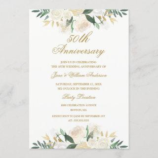 Gold Floral Botanical 50th Wedding Anniversary Invitations