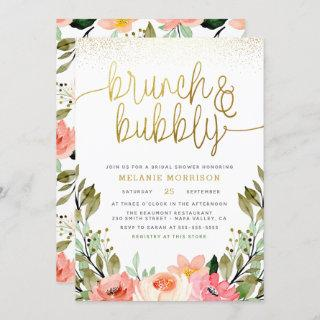 Gold Floral Brunch & Bubbly Bridal Shower Invitations