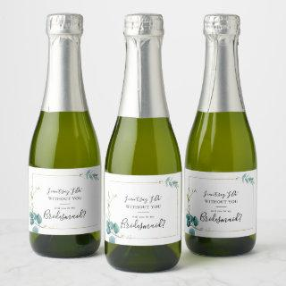 Gold Floral Tropical Green Bridesmaid Proposal Champagne Label