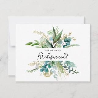 Gold Floral Tropical Greenery Bridesmaid Proposal Note Card