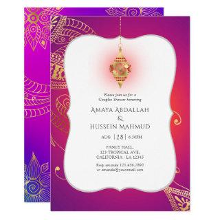 Gold Foil Arabian Bollywood Couples Shower Invitations