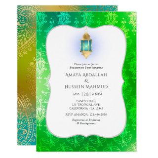 Gold Foil Arabian Bollywood Engagement Party Invitation