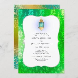 Gold Foil Arabian Bollywood Engagement Party Invitations