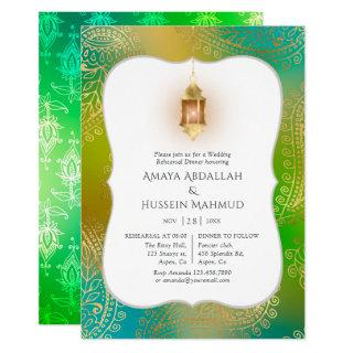 Gold Foil Arabian Bollywood Rehearsal Dinner Invitation