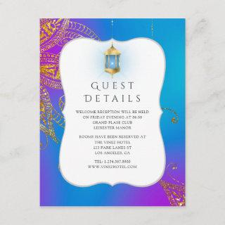 Gold Foil Arabian Bollywood Wedding Guest Details Enclosure Card