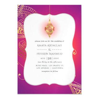 Gold Foil Arabian Bollywood Wedding Magnetic Invitations